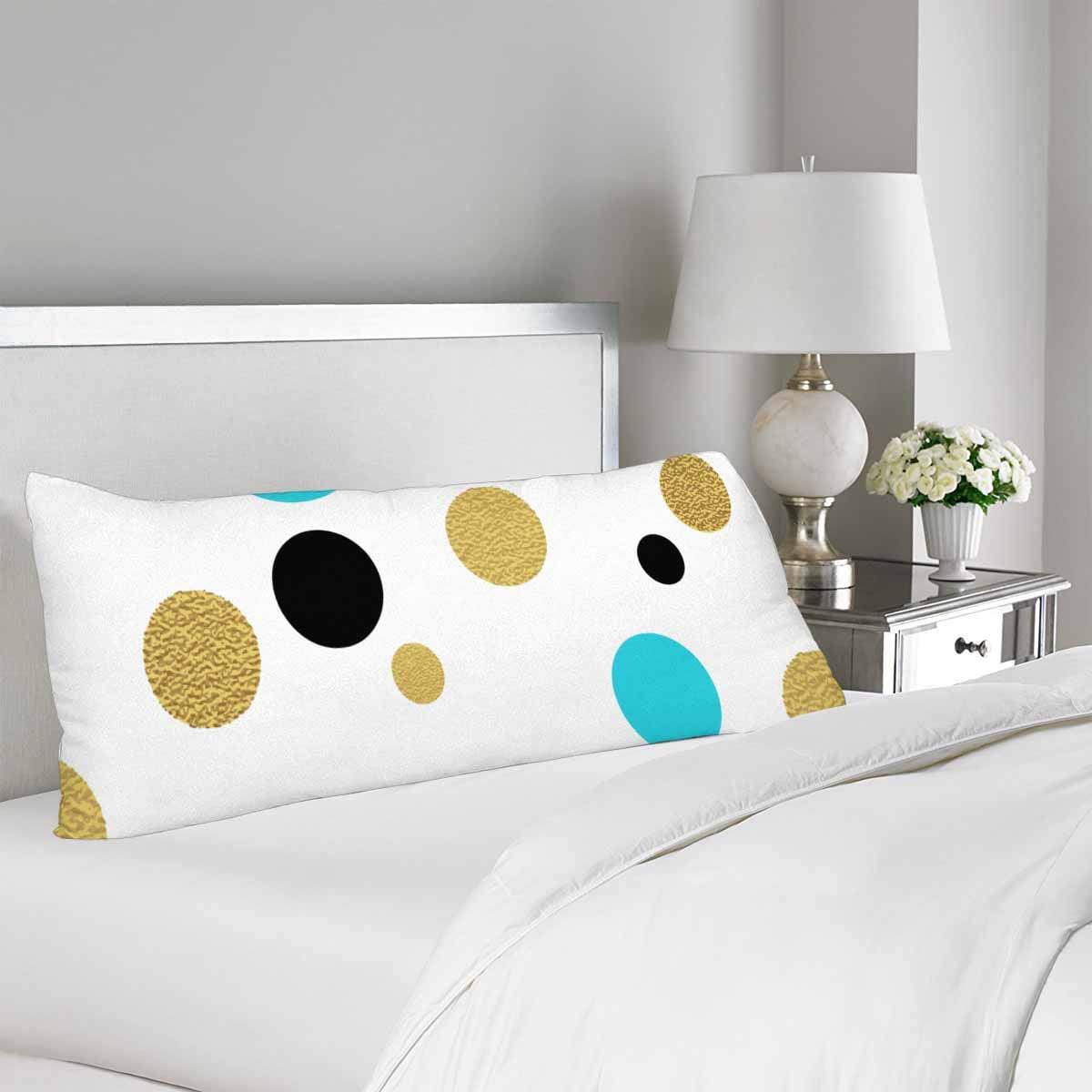 GCKG Gold Glitter Polka Dot Pillow Covers Pillowcase Zipper 20x60 inches, Classic Dotted Body Pillow Case Protector - image 1 de 2