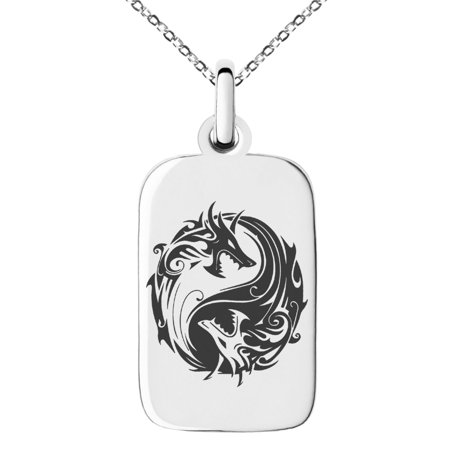 Stainless Steel Tribal Dragon Yin Yang Engraved Small Rectangle Dog Tag Charm Pendant Necklace