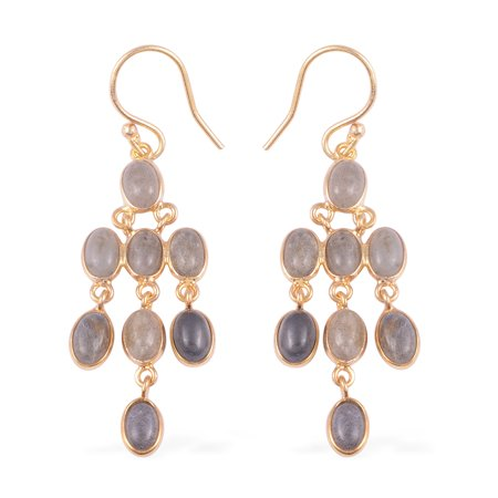 Dangle Drop Earrings 925 Sterling Silver Vermeil Yellow Gold Oval Labradorite Gift Jewelry for Women