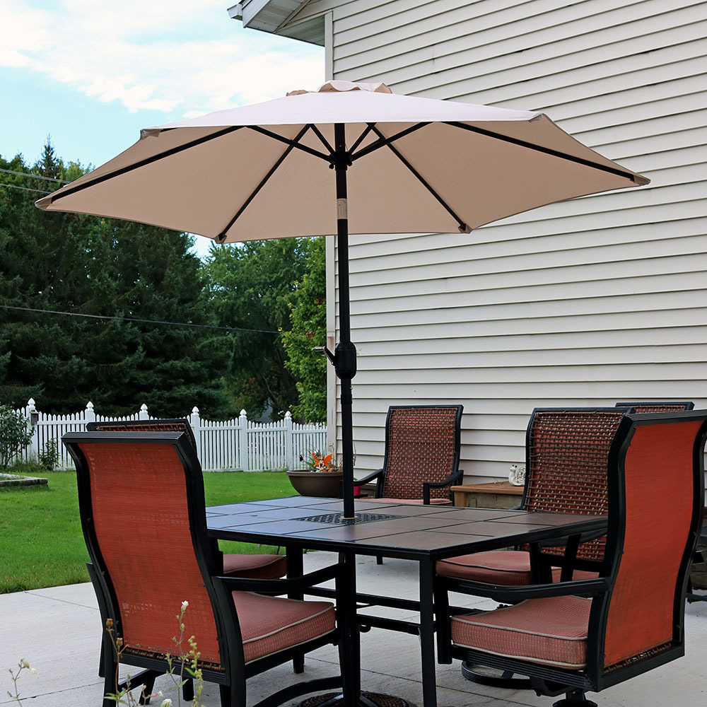 Sunnydaze 7.5 Foot Outdoor Aluminum Patio Umbrella with Tilt & Crank, Burnt Orange