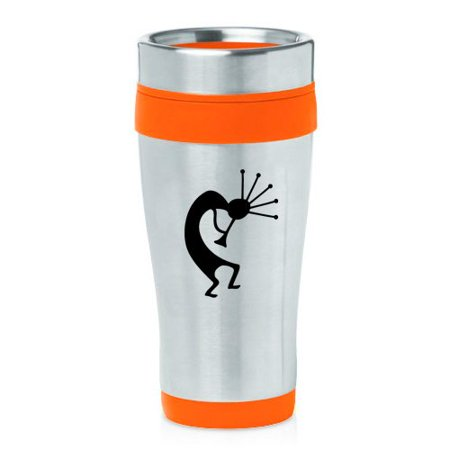 16oz Insulated Stainless Steel Travel Mug Kokopelli (Orange )