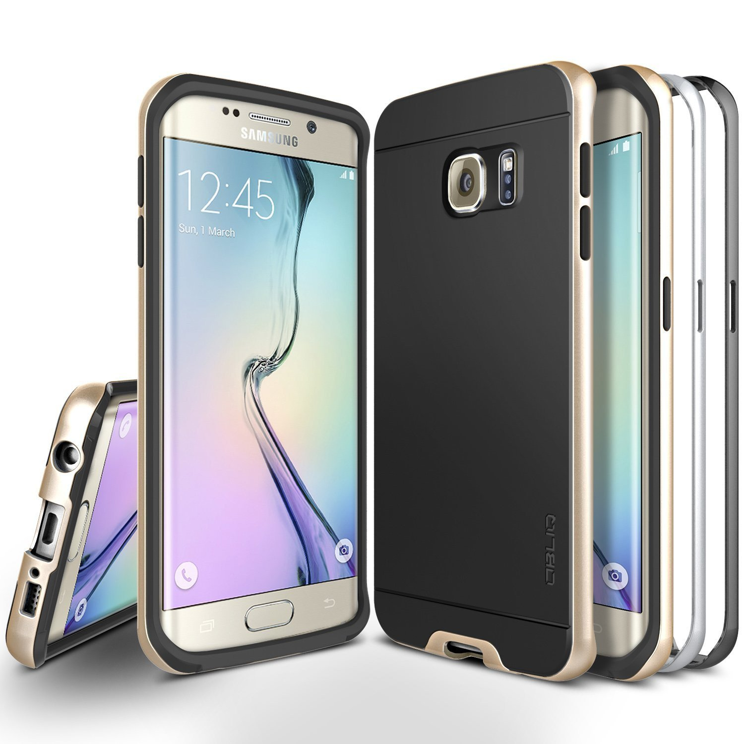 OBLIQ, Galaxy S6 Edge Case [Dual Poly Bumper][Gold,Silver,and Black] Dual Layer Bumper Slim Matted Back Anti Scratch Protective Cover for Galaxy S6 Edge