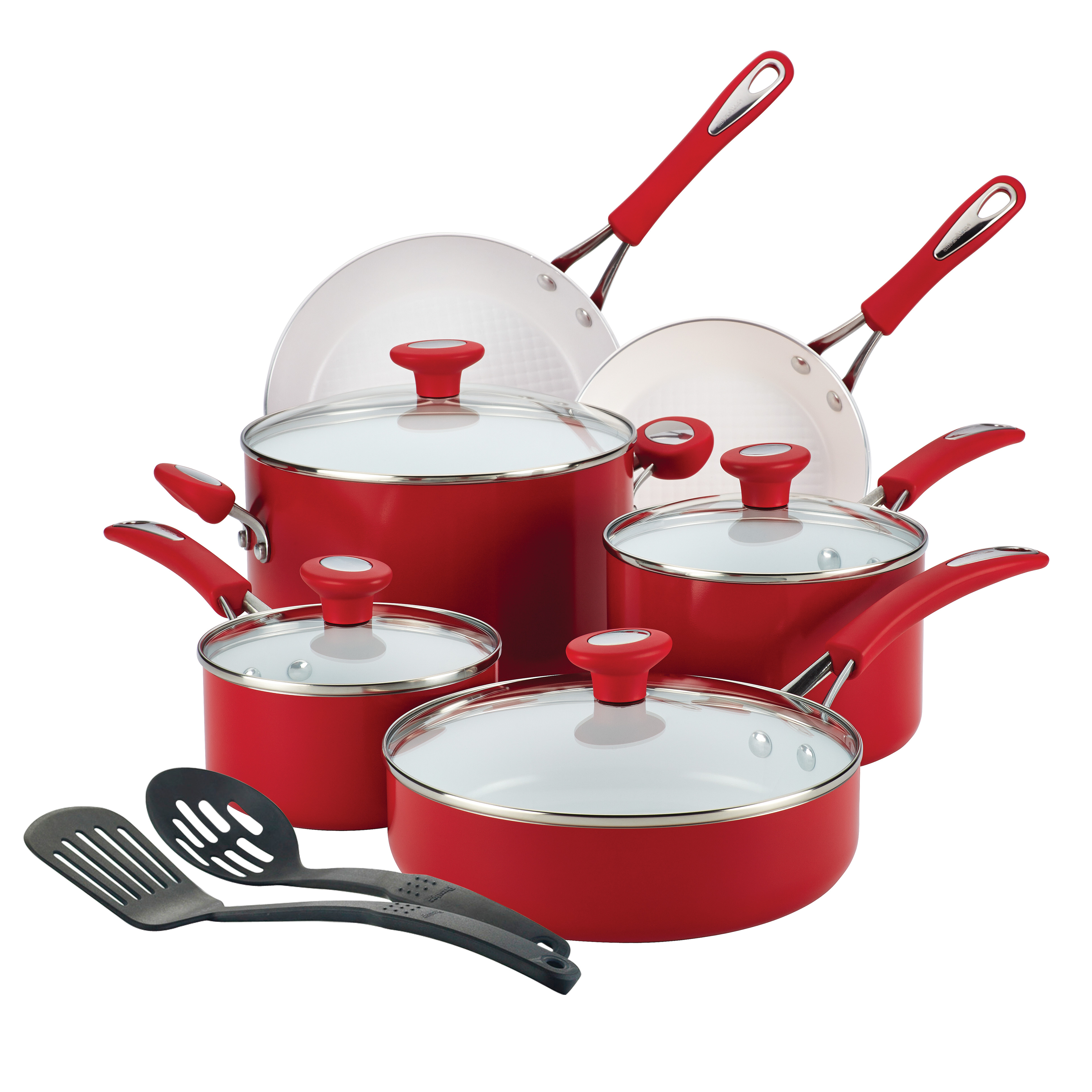 SilverStone(r) Ceramic Nonstick Aluminum Cookware Set, 12-Piece, Chili Red, CXi Collection