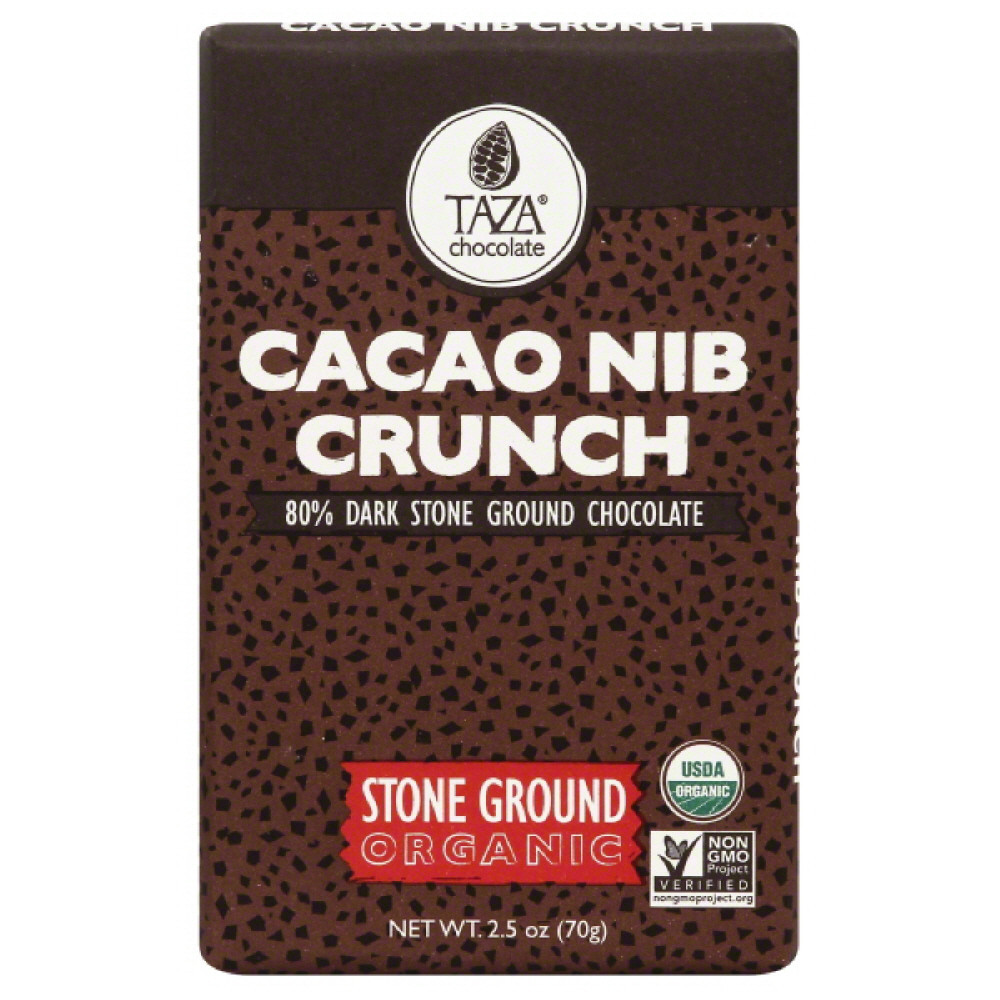 Taza Cacao Nib Crunch Organic Stone Ground Dark Chocolate, 2.5 Oz (Pack of 10)