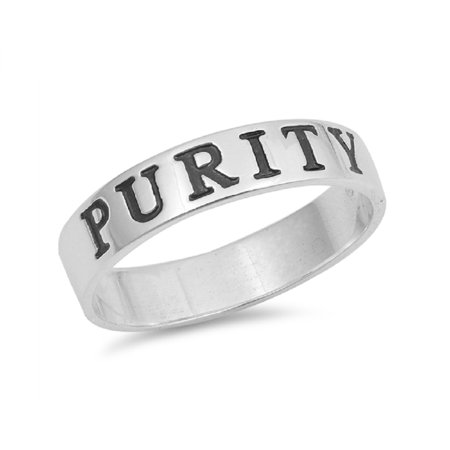 Sterling Silver Purity Rings (Polished Sterling Silver Ingraved Purity Band Ring )