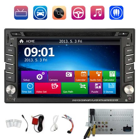 EinCar 6.2 Inch Universal Double 2 Din In Dash Car CD DVD Player GPS Navigation With Touch Screen Stereo Radio Bluetooth Navigation USB SD Input Support Steering Wheel Control+Free 8GB Map Card (Car Cd Indash Players)