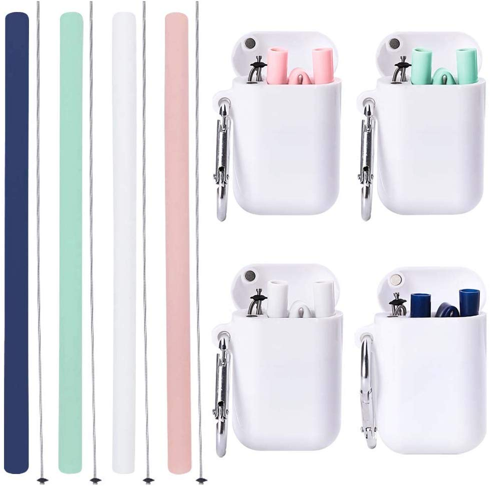 Pack of 4 Foldable Silicone Straw set with case and cleaning brush