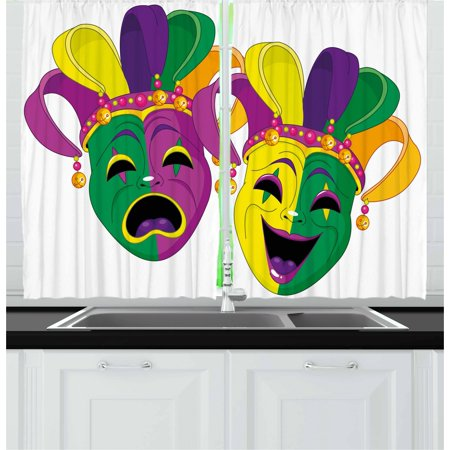 Mardi Gras Curtains 2 Panels Set, Traditional Masks of Tragedy and Comedy Festival Celebration Masquerade Theme, Window Drapes for Living Room Bedroom, 55W X 39L Inches, Multicolor, by - Mardis Gras Curtain