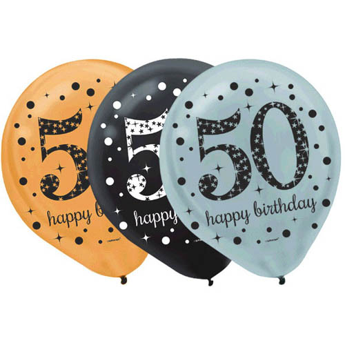 Over the Hill 'Sparkling Celebration' 50th Birthday Latex Balloons (15ct)