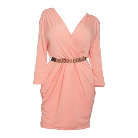 eVogues Plus size Deep V-Neck Wrap Bodice Long Sleeve Dress Peach