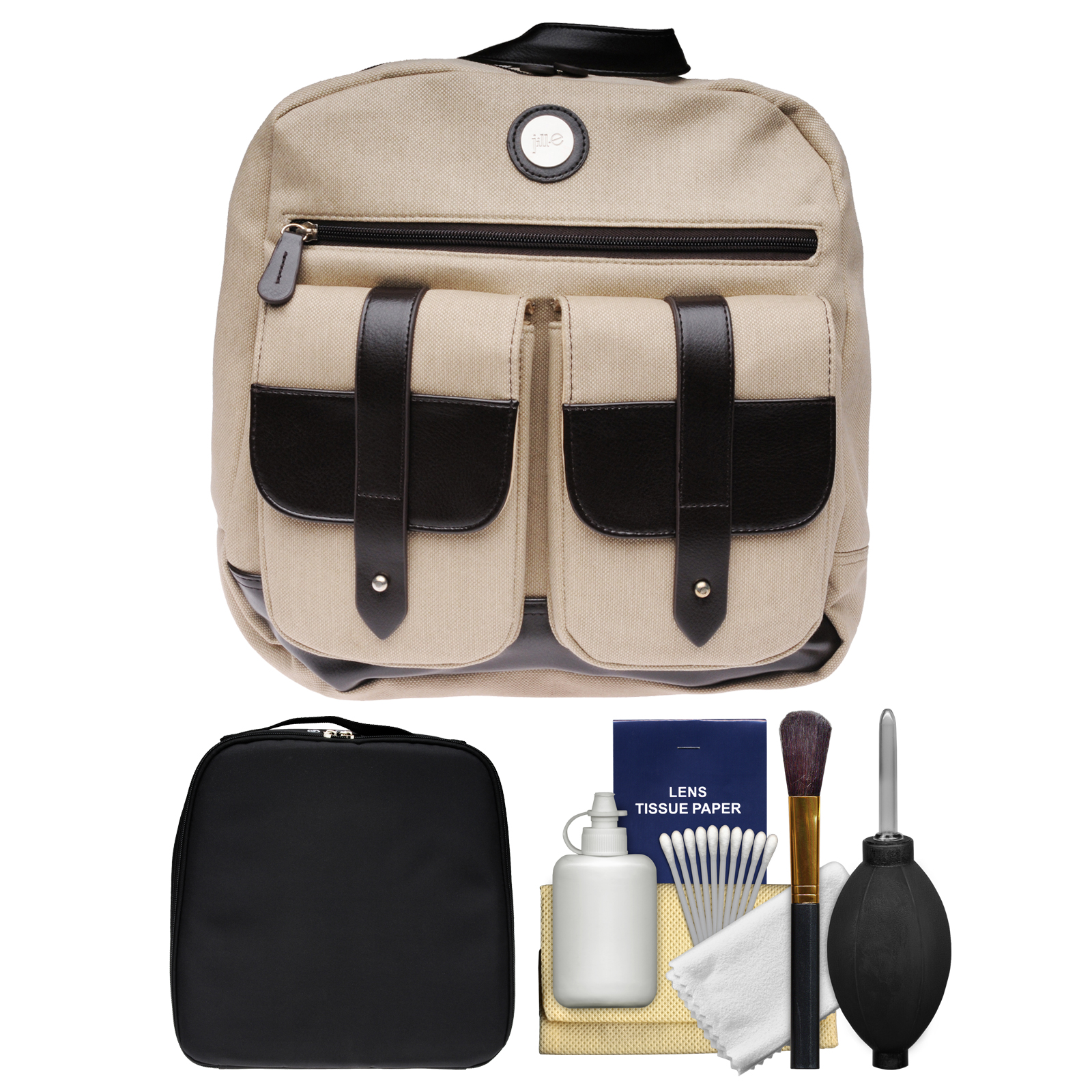 "Jill-E Digital 13"" Laptop Backpack Case (Tan/Brown) with Camera Insert Bag + Cleaning Kit"
