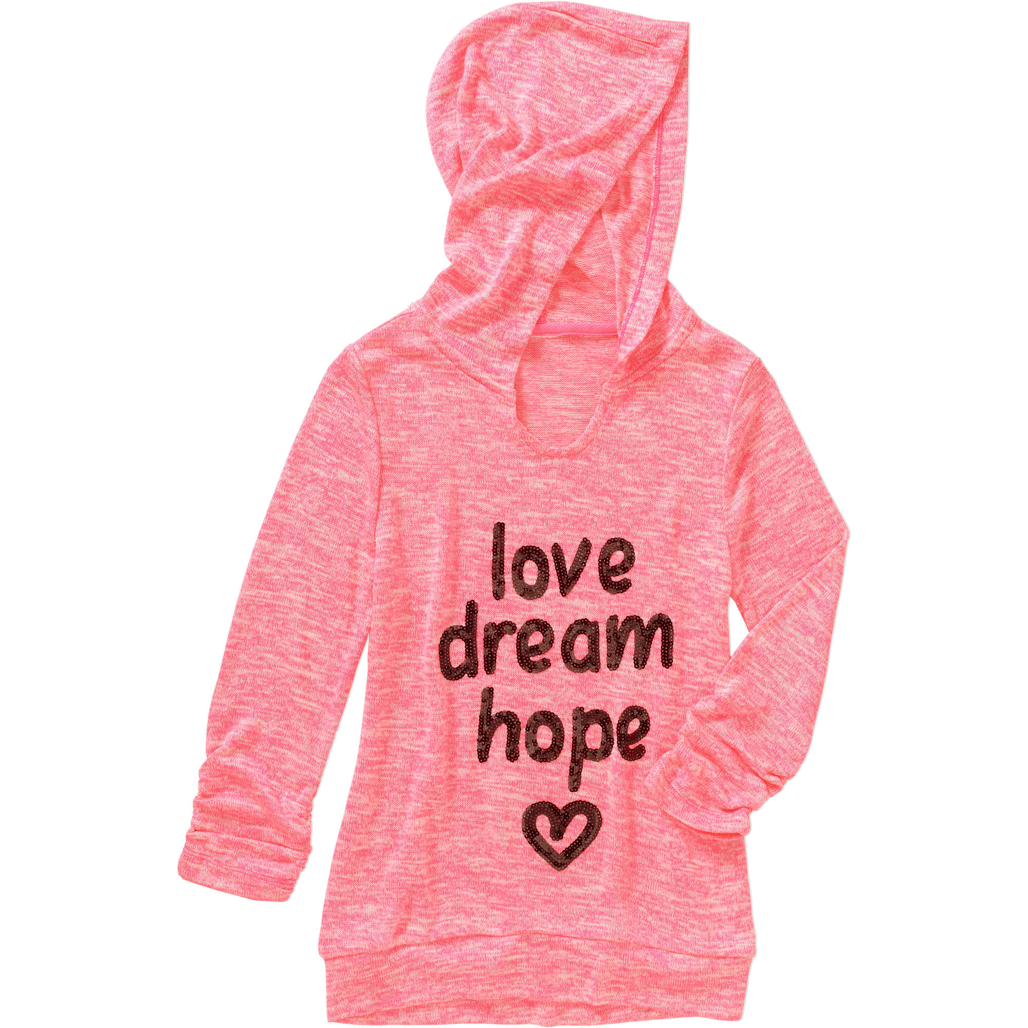 Miss Chievous Girls' Cinched Sleeve Scoop Neck Love Dream Hope Hoodie