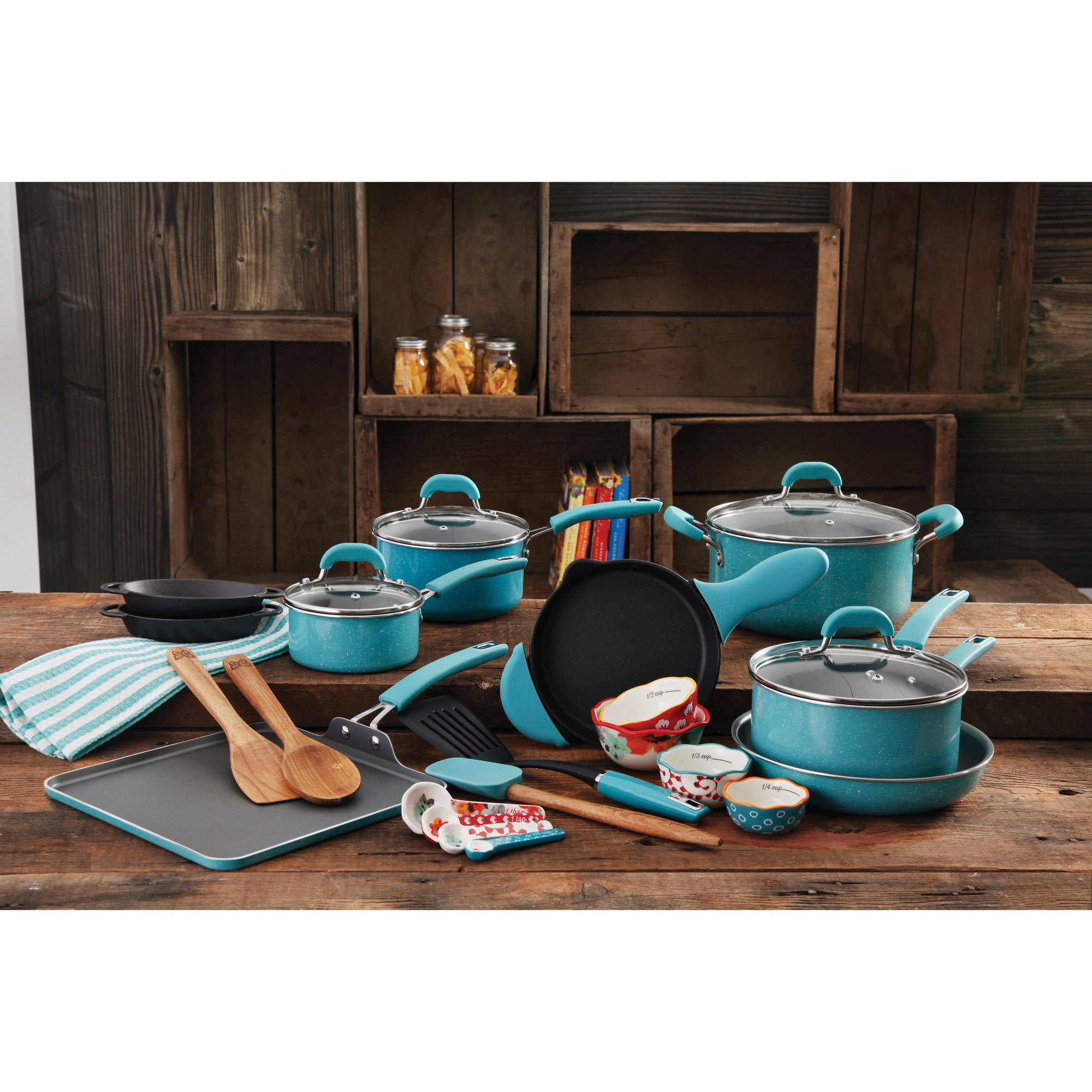 the pioneer woman vintage cookware combo set, 27-piece - walmart