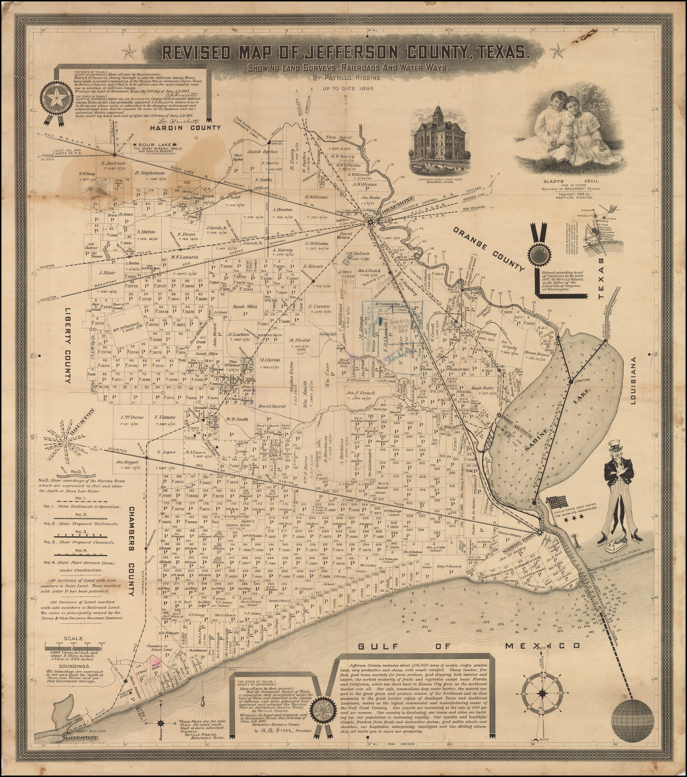 laminated poster  first map to show spindletop  revised