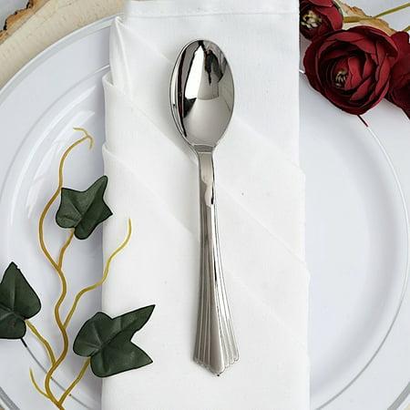 "BalsaCircle 25 pcs 6.25"" Silver Plastic Spoons"