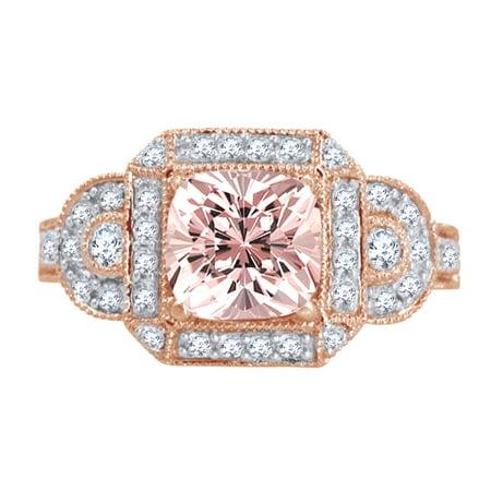 1.5 Ct Princess Cut Morganite & White Natural Diamond Vintage Halo Engagement Ring in 10k Rose Gold Ring Size - 10.5
