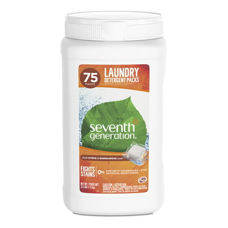 Seventh Generation Laundry Detergent Packs Citrus & Sandalwood 75 count (7th Generation Size 1)