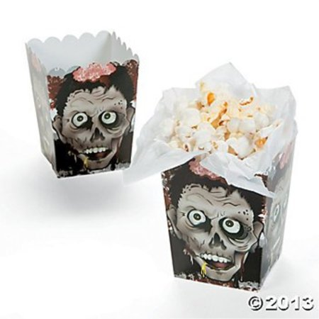 Halloween Zombie Head Mini Popcorn Boxes - 12 ct - Popcorn Balls Halloween Song