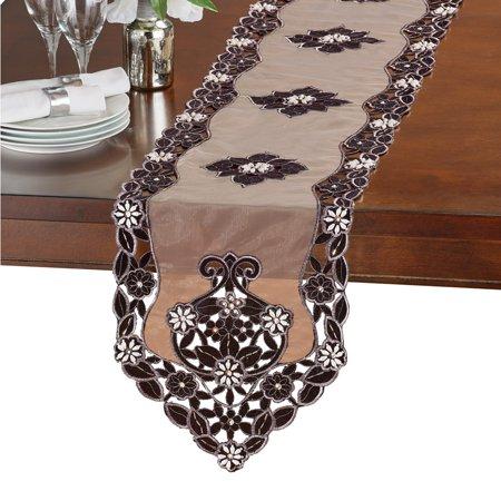- Exquisite Beaded Velvet Table Linens, Runner