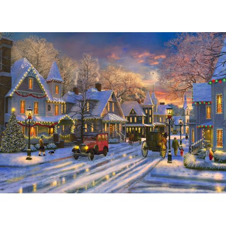 small town christmas rolled canvas art dominic davidson 18 x 9 - Small Town Christmas