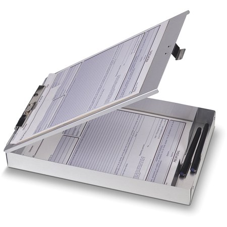 Officemate OIC Aluminum Forms Storage Clipboard, 8.5 x 12 inch (83200)