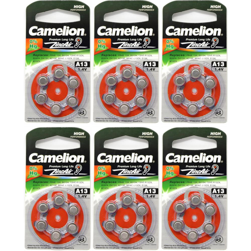 6 Pack Camelion A13 1.4V 280mAh Zinc Air Hearing Aid Batteries 6 Count Each