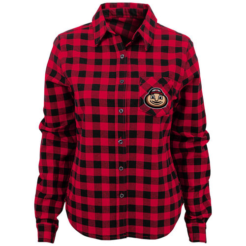 Juniors Scarlet Ohio State Buckeyes Buffalo Plaid Long Sleeve Flannel T-Shirt
