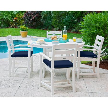 Cafe Dining Set (POLYWOOD® La Casa Cafe Dining Set with Cushions - Seats 4 - White / Navy )