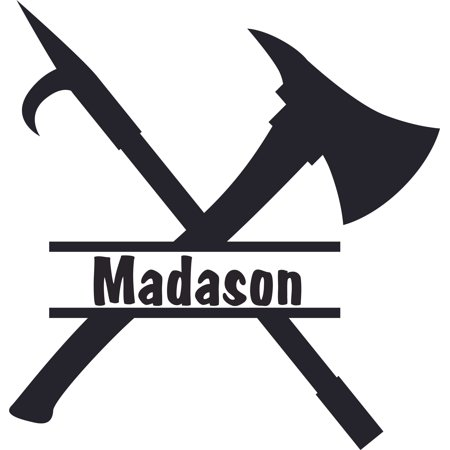 Axe and Spear Logo Weapon Firefighter Customized Wall Decal - Custom Vinyl Wall Art - Personalized Name - Baby Girls Boys Kids Bedroom Wall Decal Room Decor Wall Stickers Decoration