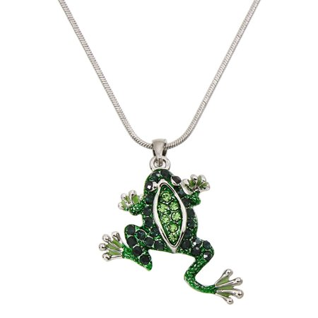 Green Frog Pendant Necklace Rhinestone Crystal Rhodium High Polished (Diamond Frog Necklace)