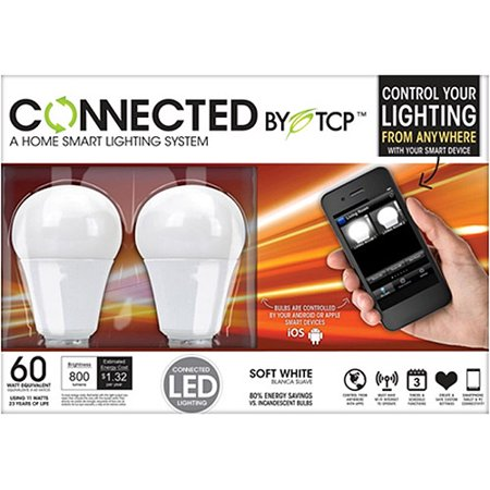 TCP Connected Home Wireless LED Light Bulb Starter Kit with 2 A19 LED Light  Bulbs. TCP Connected Home Wireless LED Light Bulb Starter Kit with 2 A19