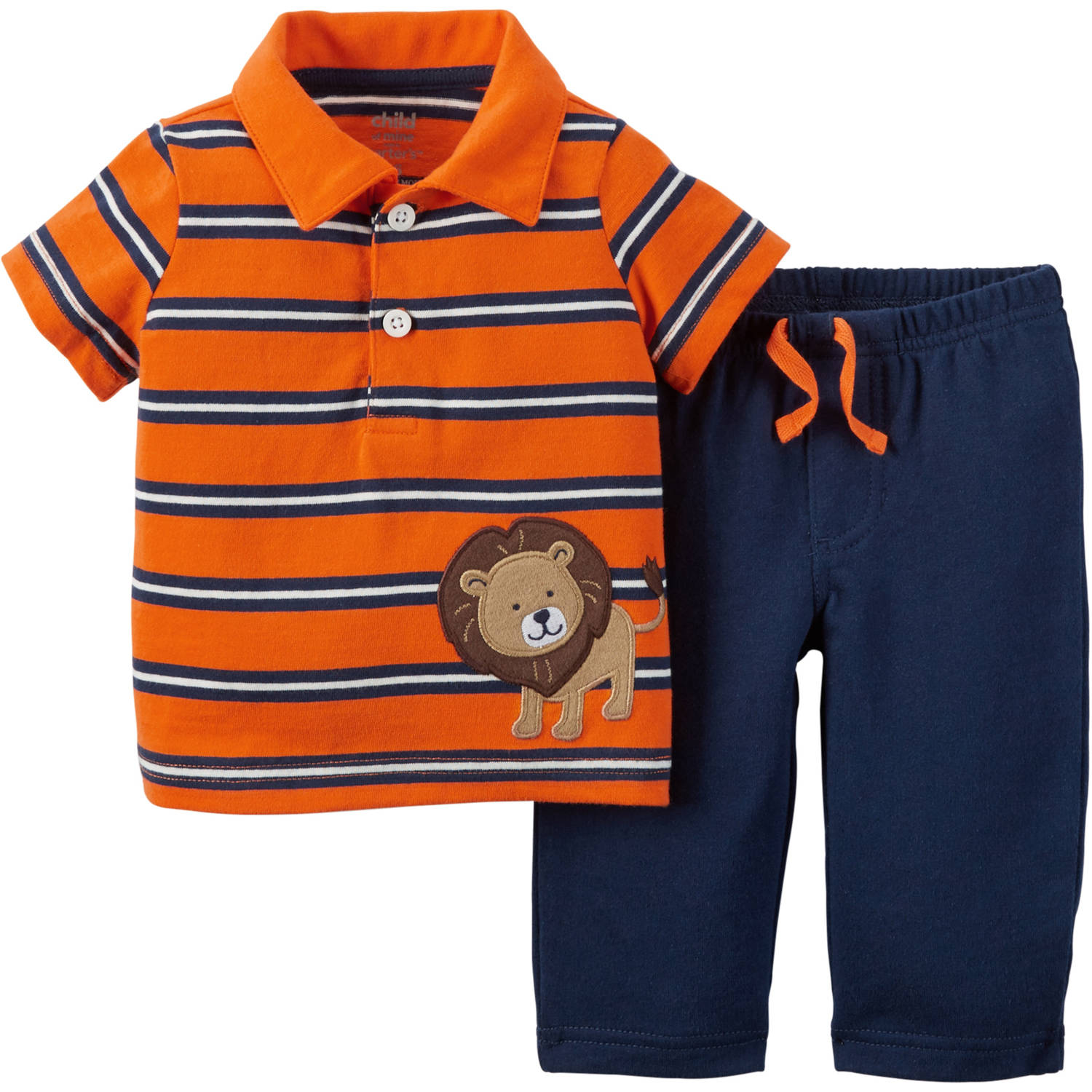 Child of Mine by Carter's Newborn Baby Boy Collared Shirt and Pant Outfit Set 2 Pieces