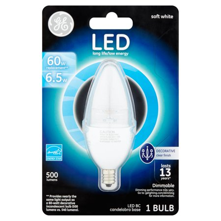 Ge Led 6 5W 500 Lumens Bc Candelabra Base Soft White Bulb