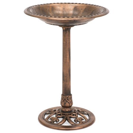 Best Choice Products Outdoor Resin Garden Pedestal Bird Bath Vintage Decor, Copper