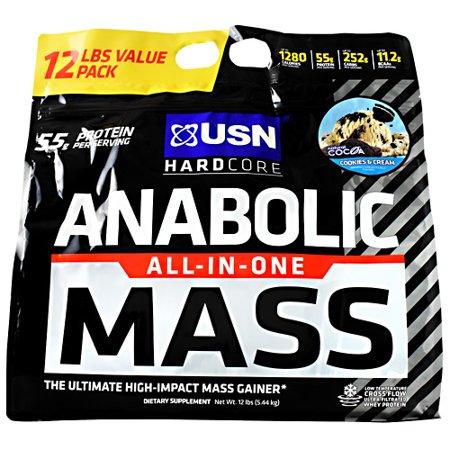 Usn Hardcore Anabolic Mass, Cookies & Cream, 12 LB.