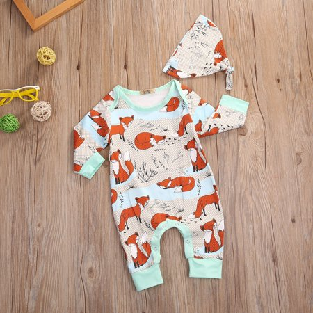0-18M Toddler Baby Boy Girl Outfit Romper Tops+Hat 2Pcs Fox Pattern Clothes Set - Fox Outfit