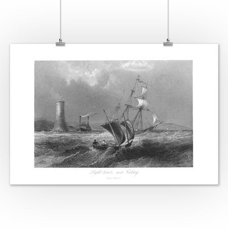 12 Lamps Wall Decor By World Traveler : Ontario, Canada - View of a Light Tower near Cobourg on Lake Ontario, Ships on Lake (12x18 Art ...