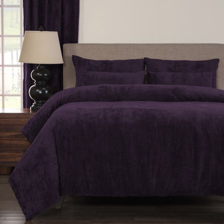 SIScovers Draper Plum Soft Chenille-Like Fabric 6-Piece Duvet Cover Set with Comforter Insert