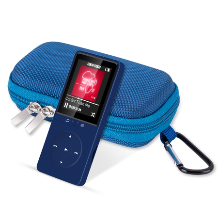 AGPTEK 16GB MP3 Player with FM Radio/Voice Recorder, 80 Hours Playback and Up to 64GB,with mp3 case, A20BS Dark Blue ()