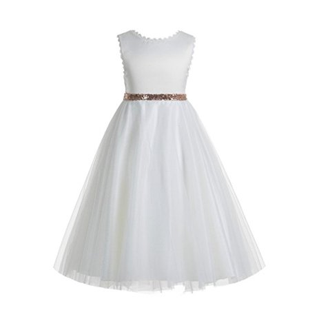 EkidsBridal V-Back Lace Edge White Flower Girl Dresses Communion Dress Baptism Dresses Junior Dress 183