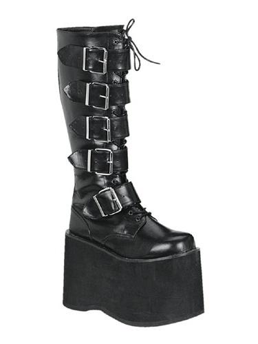 Mega-618, 5 Black 3 4'' 5 Buckle Black 5 Polyurethane Knee Boot beb314