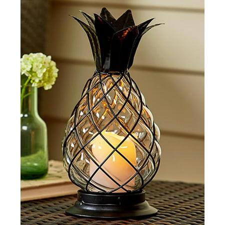 Glass Pineapple LED Hurricane Lantern (Hurricane Light Fixture)