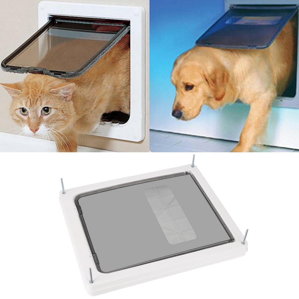 "White Pet Dog Door 17"" x 14""  Flap Telescoping Frame Gate for pet to 90 lbs"