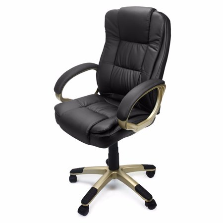 Deluxe High Back Office Chair PU Leather Executive, Black ...