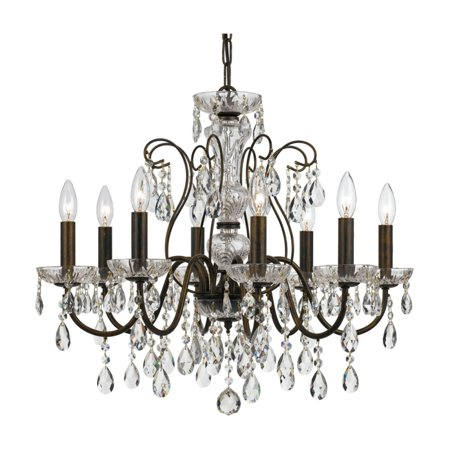 elight DESIGN ED05608 Crystal Chandelier Copper Stained Glass Chandelier