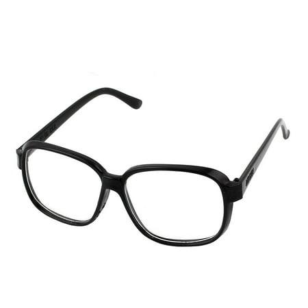 Black Full Frame Clear Lens Eyes Protector Plain Glasses ...
