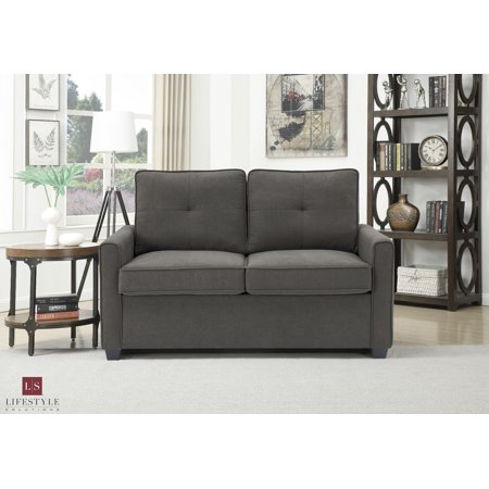 Lifestyle Solutions Venice Loveseat with Pullout Bed, Heather Gray ()
