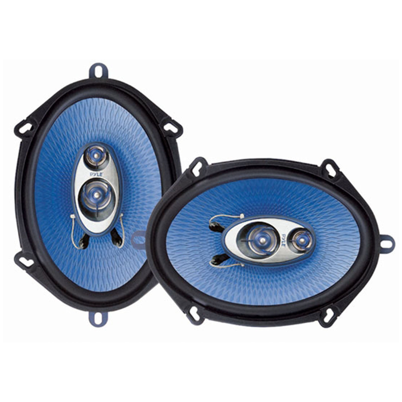 """PYLE PL573BL - 5"""" x 7"""" Car Sound Speaker (Pair) - Upgraded Blue Poly Injection Cone 3-Way 300 Watts w/Non-fatiguing Butyl Rubber Surround 80-20Khz Frequency Response 4 Ohm & 1"""" ASV Voice Coil"""