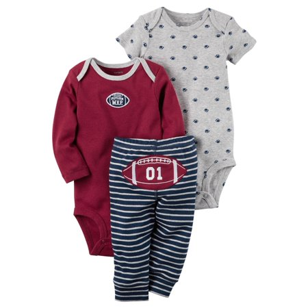Carters Baby Boys 3-Piece Little Character Set Football M.V.P. Gray - Little Boy Football Player