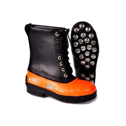 Viking Wear Black Tusk Lug Sole Leather Bottom Chainsaw Boot